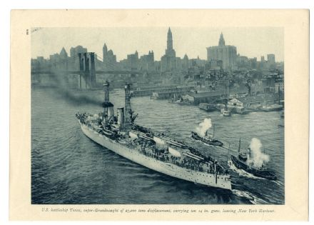 1918 WW1 Print USS BATTLESHIP TEXAS NEW YORK HARBOUR Brooklyn Bridge SKYLINE 530